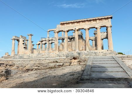 A view of the Doric temple of Aphaia on Aegina island in the Saronic Gulf, south of Athens. stock photo
