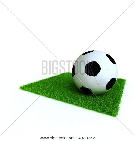 soccer ball on a lawn from a green bright grass on a white background stock photo
