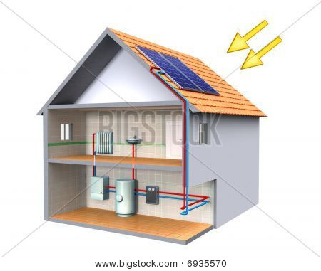 Solar thermal energy system in a modern house. Digital illustration, clipping path included. stock photo
