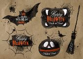 Halloween set images lettering kraft