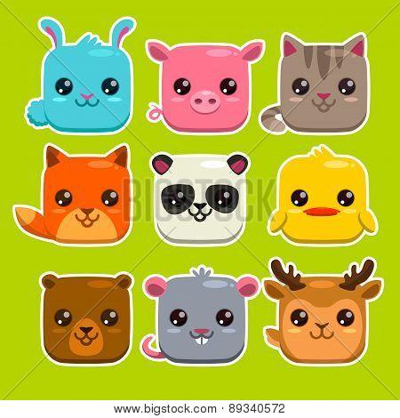 Square Animals Set