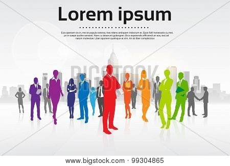 Business People Group Colorful Silhouettes Flat