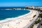 Panoramic perspective on Copacabana shoreline with city horizon of Rio de Janeiro, Brazil.