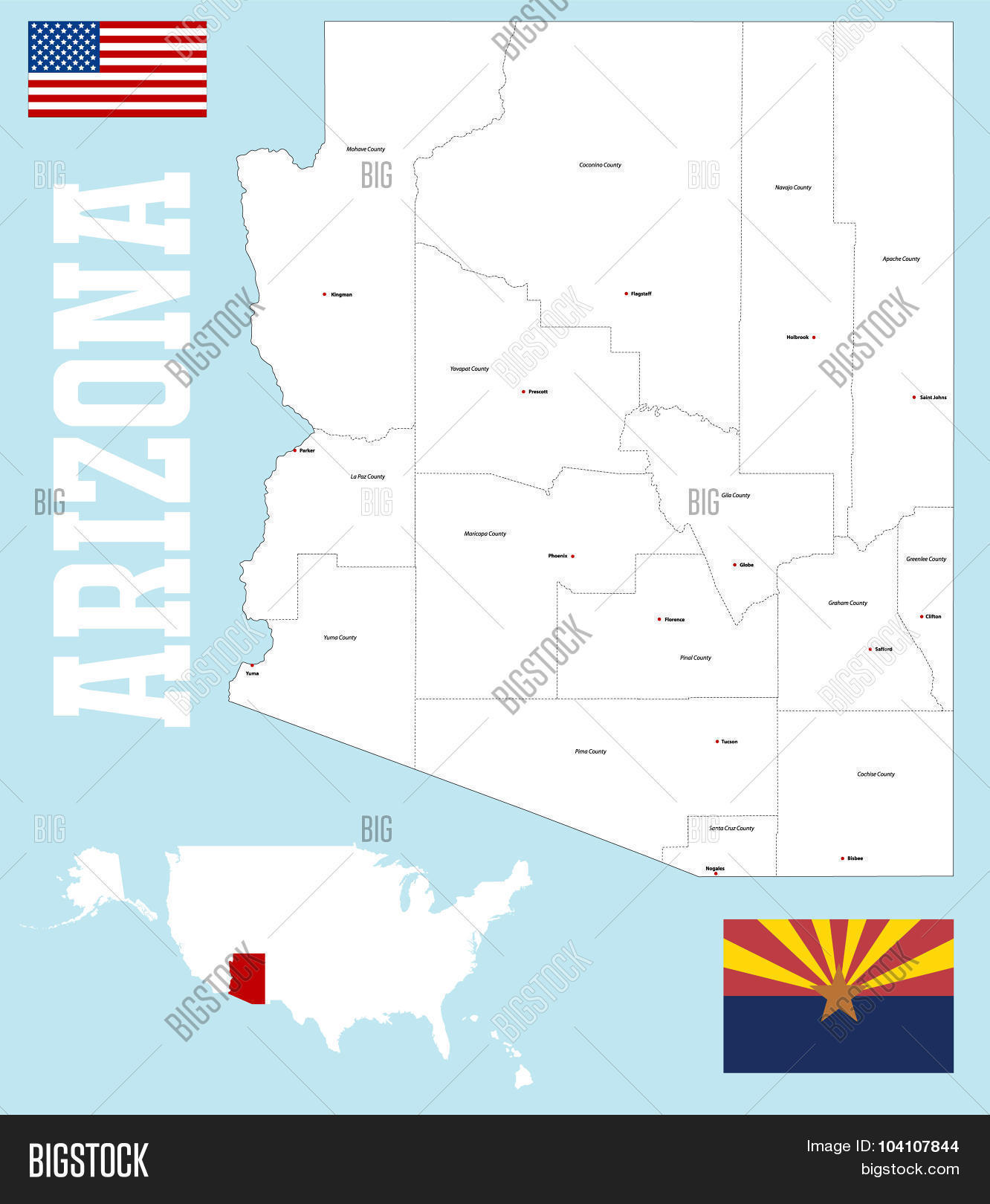 🔥 Arizona county map
