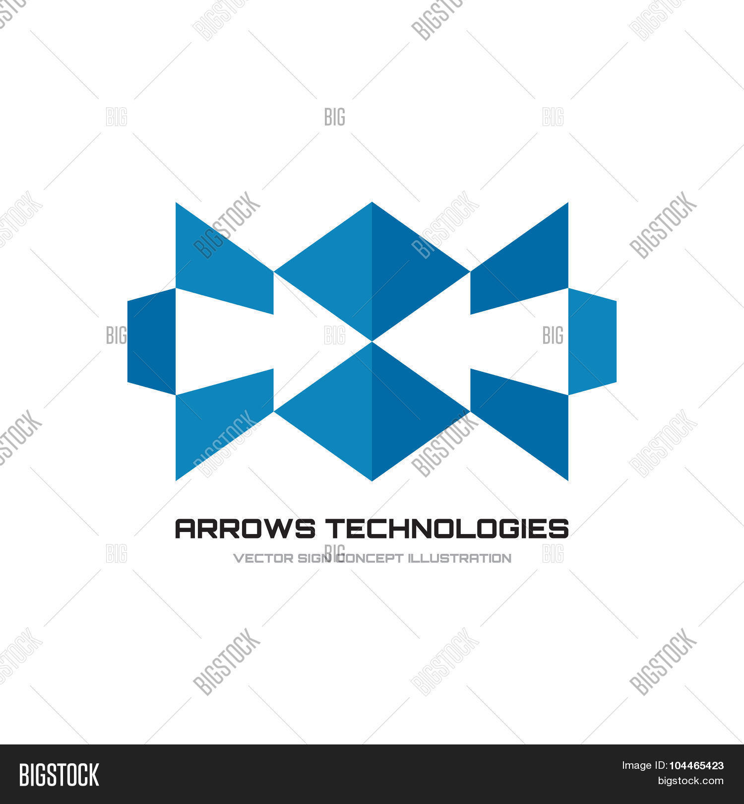 Arrows technologies - vector logo concept illustration. Abstract shapes logo. Geometric arrows logo.
