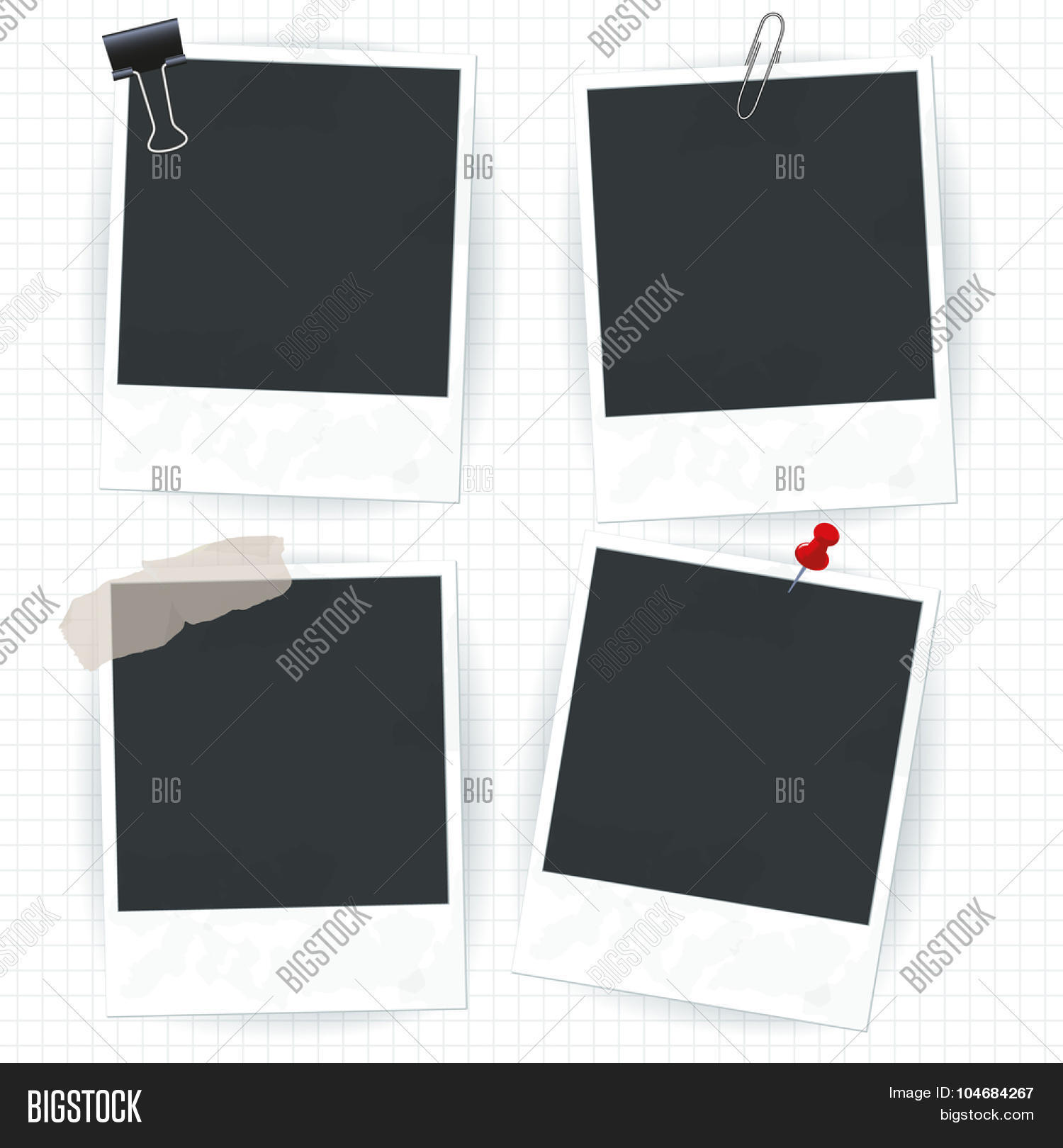▷ Set of Vector instant polaroid photo frames photo stock