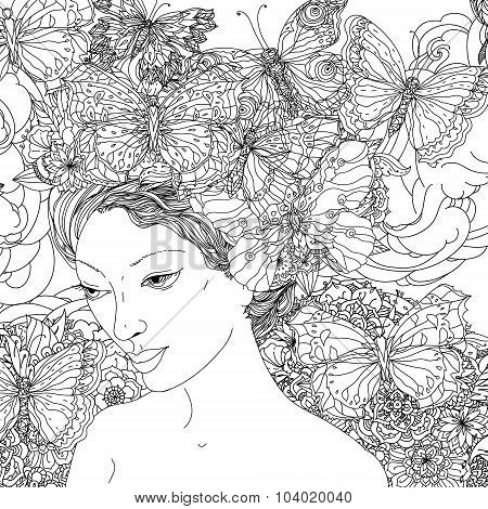 Beautiful fashion woman face with abstract hair  with butterfly in the image of a elfin and floral design elements could be used  for coloring book.  Black and white in zentangle style. stock photo