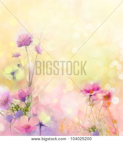 Oil Painting Nature Grass-pink Cosmos Flower-Dishwasher Magnet Skin (size 24x24)