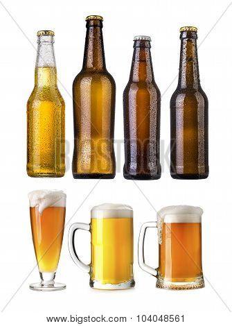 Set Of Beer Bottles-Lg Fridge Magnet Skin (size 36x65)