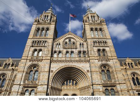 The exterior of the Natural History Museum in London. stock photo