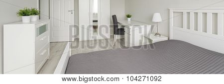 Panorama of voguish bedroom designed especially for young people stock photo