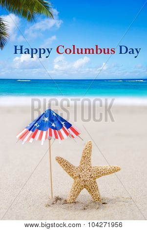 Columbus Day Background With Starfishes