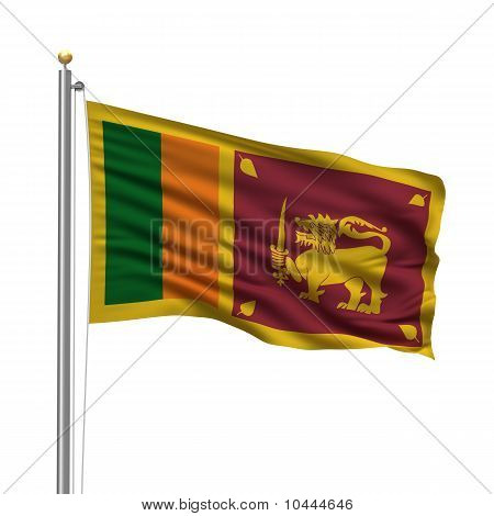 Flag of Sri Lanka with flag pole waving in the wind over white background stock photo
