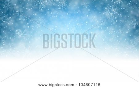 Winter background with snowflakes and place for text. Christmas blue defocused illustration. Eps10 v