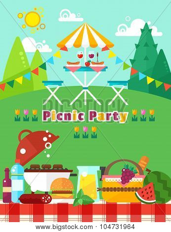 Picnic party landscape in flat trendy style. Vector picnic elements collection