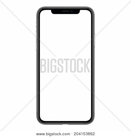 Smartphone mockup similar to iPhone X. New modern black frameless smartphone mockup with blank white screen. Isolated on white background. Based on high-quality studio shot. Smartphone frameless design concept.