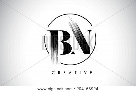 BN Brush Stroke Letter Logo Design. Black Paint Logo Leters Icon with Elegant Circle Vector Design. stock photo