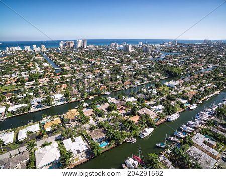 Aerial view of Fort Lauderdale Las Olas Isles, Florida, USA stock photo