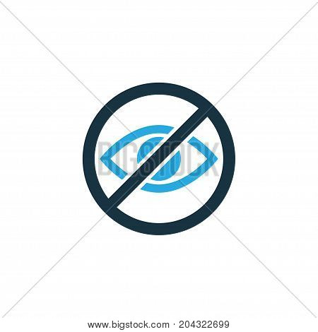 Premium Quality Isolated Prohibited Element In Trendy Style.  Lower Your Eyes Colorful Icon Symbol. stock photo