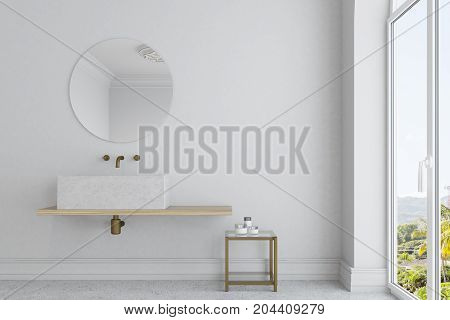 White bathroom interior with a large window a concrete floor and an angular marble sink with a round mirror above it. 3d rendering mock up stock photo