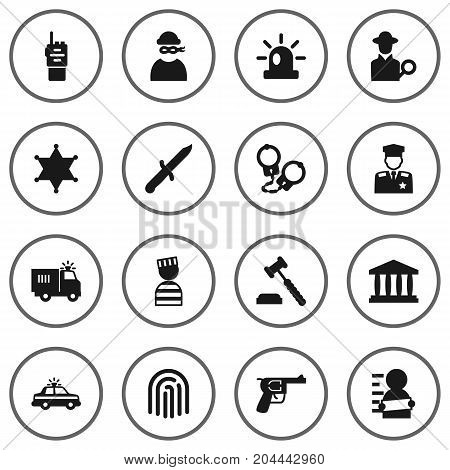 Collection Of Suspicious, Revolver, Policeman And Other Elements.  Set Of 16 Crime Icons Set. stock photo