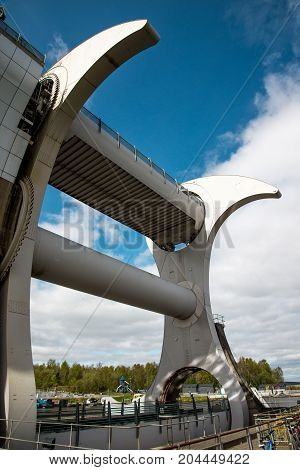 A close view of Falkirk Wheel boat lift Scotland stock photo