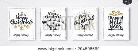Christmas greeting card set with emblem gold style consisting sign Happy New Year, Merry Christmas with gift, santa and deer, christmas ball on white snow holiday background. Vector Illustration