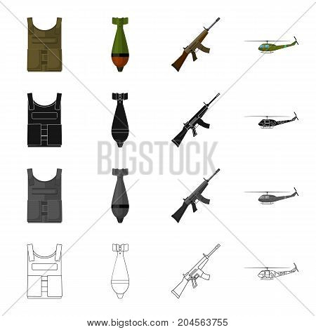 Military bulletproof vest, mine, machine gun, combat helicopter. The military and the army set collection icons in cartoon black monochrome outline style vector symbol stock illustration . stock photo