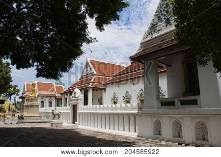 Wat Phaichayon Phon Sep Ratchaworawihan temple for people visit and pray at Amphoe Phra Pradaeng in Samut Prakan Thailand stock photo