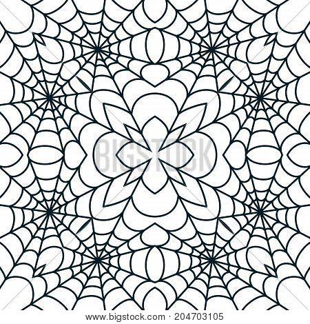 Spider web seamless Halloween background texture cobweb gossamer. Vector illustration. stock photo