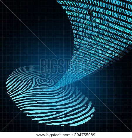 Security password personal identification safety login concept as a technology safety software as a human fingerprint with data code encryption emerging out in a 3D illustration style. stock photo