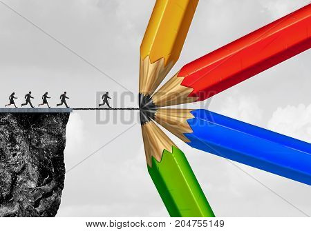 Group drawing a bridge and conquering adversity business concept as people running from a cliff with the help of a team of diverse pencils creating a helping path to success as a concept for bridging the gap with 3D illustration elements. stock photo