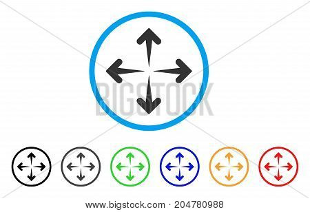 Expand Arrows rounded icon. Style is a flat expand arrows grey symbol inside light blue circle with black, gray, green, blue, red, orange variants. Vector designed for web and software interfaces. stock photo
