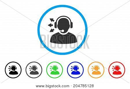 Operator Answer Speech rounded icon. Style is a flat operator answer speech grey symbol inside light blue circle with black, gray, green, blue, red, orange color versions. stock photo