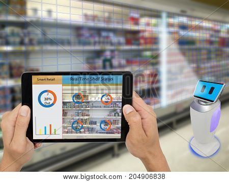 smart retail concept A store's manager can check what data of real time insights into shelf status which report on a tablet from artificial intelligence(ai) smart robot while scanning goods and price stock photo