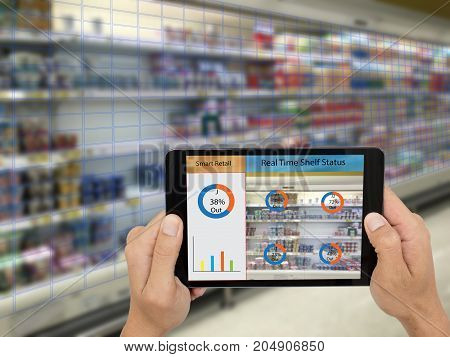iot, internet of things,smart retail concepts,A store's manager can check what data of real time insights into shelf status from artificial intelligence(ai) on smart shelf to reports on a tablet. stock photo