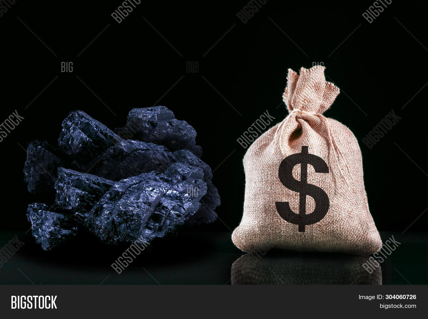 Dollar Banknotes And Coal Stones Close Up. Mining Industry Concept With Dollars And Coal. Coal. Fina