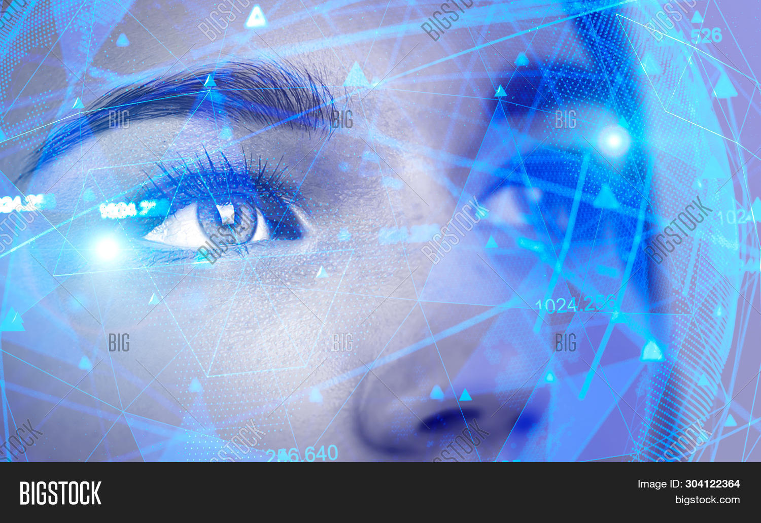 Face Of Beautiful Woman With Double Exposure Of Network Interface. Concept Of Artificial Intelligenc
