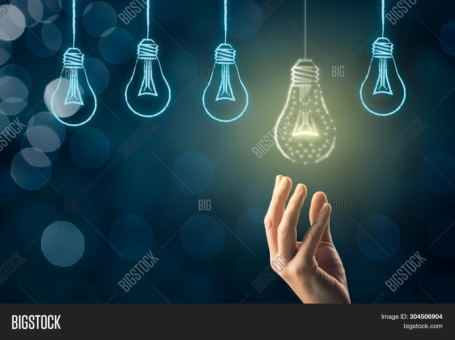 Creativity, Visionary And Innovation Concept. Businessman Pick Light Bulb (symbol Of Creativity And