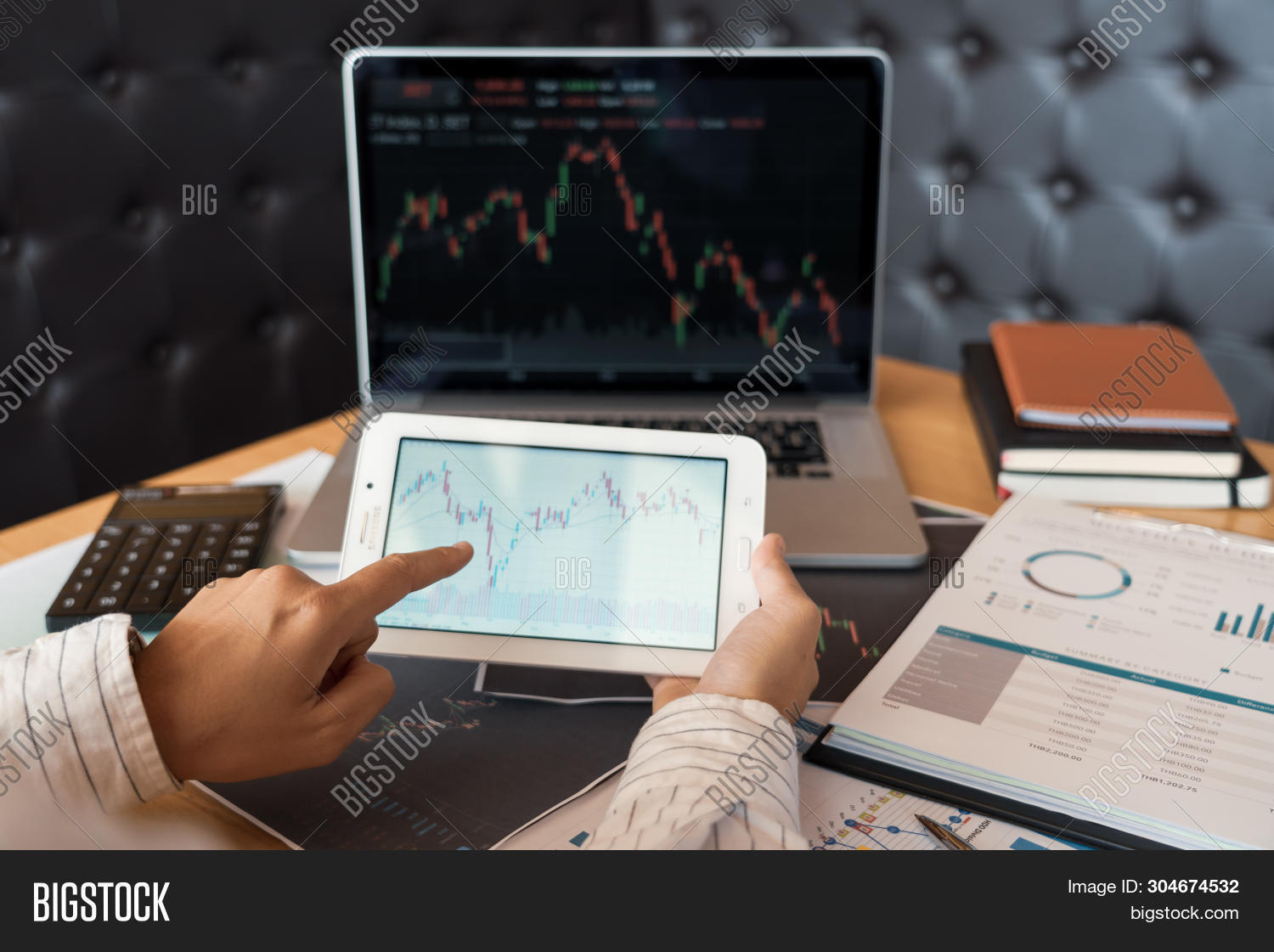Working Business Man Of Broker Or Traders Thinking About Forex On Multiple Computer Screens Of Stock
