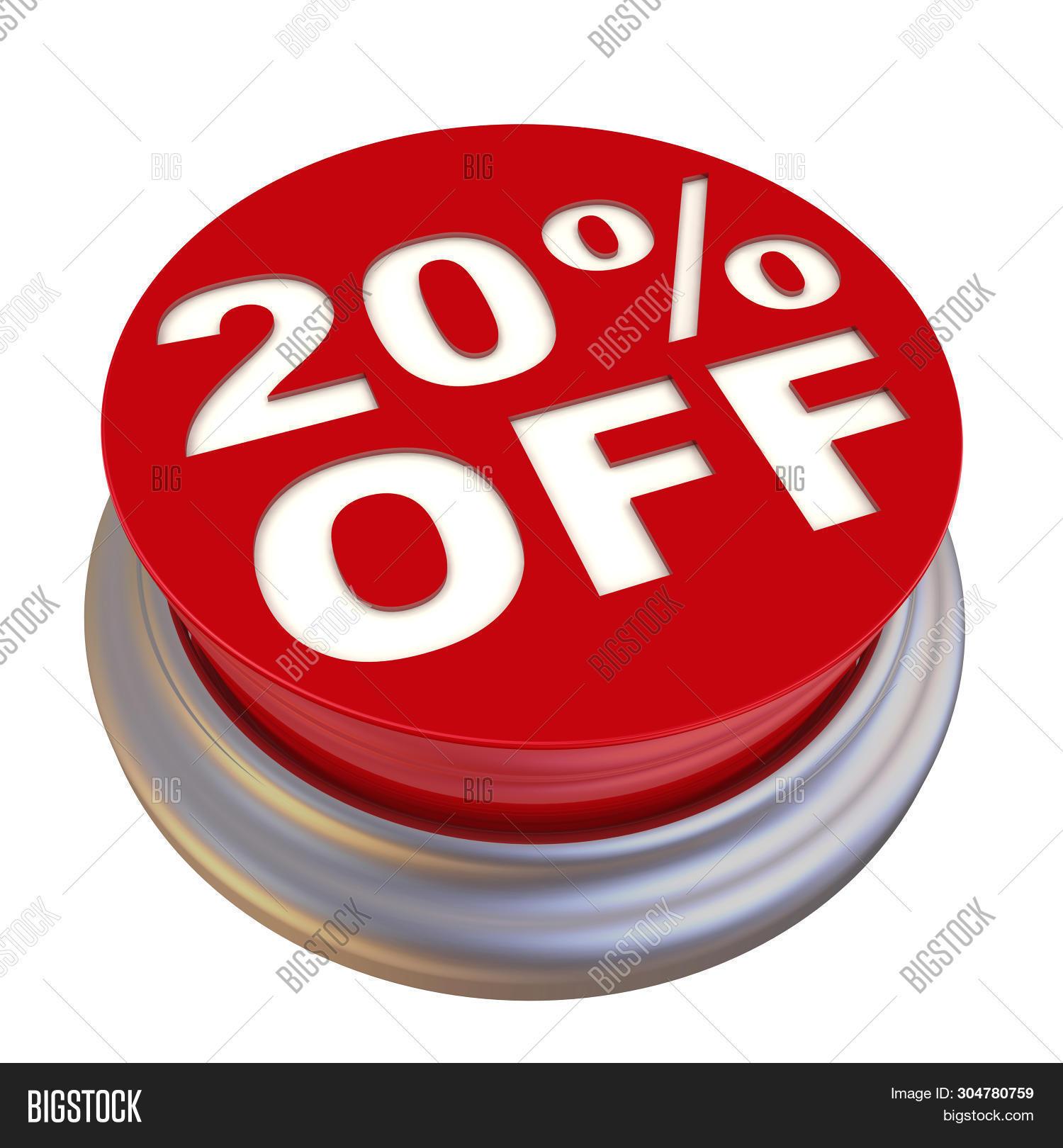 Discount Of Twenty Percentage. Red Circle Button Labeled 20% Off (twenty Percentage Discount) Isolat