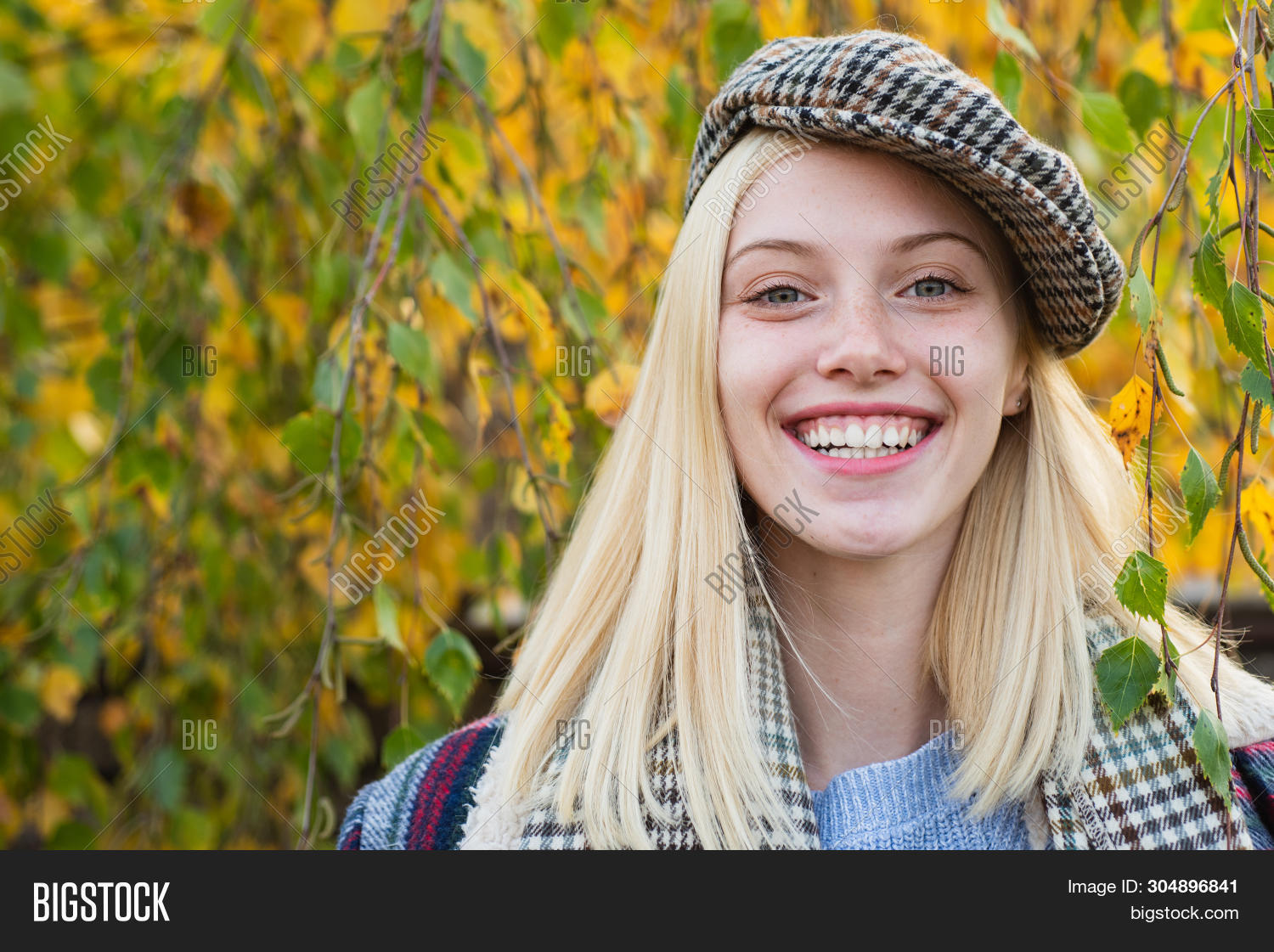 Fancy Girl. Woman Wear Checkered Clothes Nature Background. Girl Wear Kepi. Fall Fashion Accessory.