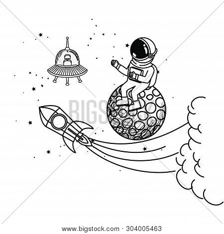 silhouette of astronaut with spacesuit in the space vector illustration design stock photo