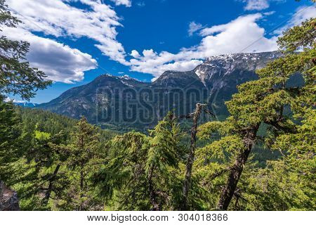 View of snow mountains in British Columbia, Canada. stock photo