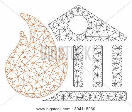 Mesh bank fire conflagration model icon. Wire frame triangular mesh of vector bank fire conflagration isolated on a white background. Abstract 2d mesh created from triangular lines and points. stock photo