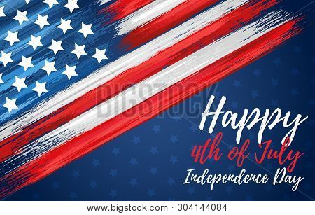 Happy Independence Day 4th Of July. United States Of America Day Greeting Card. American Flag Symbol