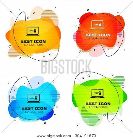Black Laptop with password notification and lock icon isolated. Concept of security, personal access, user authorization, login form. Set of liquid color abstract geometric shapes. Vector Illustration stock photo