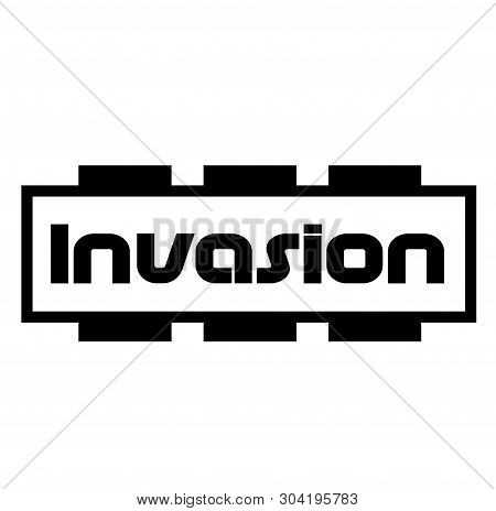INVASION stamp on white background. Stamps stickers and label series. stock photo