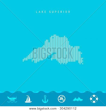 Vector Vertical Lines Pattern Map of Lake Superior, One of the Five Great Lakes of North America. Striped Simple Silhouette of Lake Superior. Lifeguard, Watercraft Icons. stock photo
