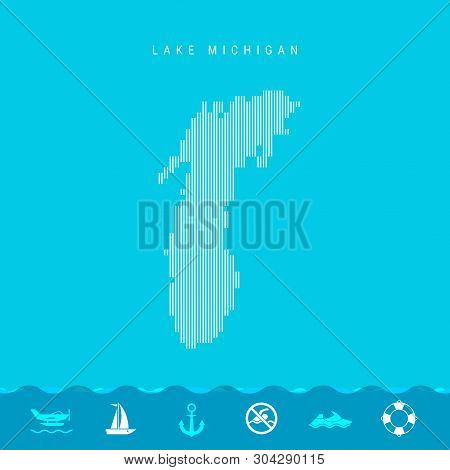 Vector Vertical Lines Pattern Map of Lake Michigan, One of the Five Great Lakes of North America. Striped Simple Silhouette of Lake Michigan. Lifeguard, Watercraft Icons. stock photo